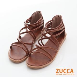 【ZUCCA&bellwink】繞繩環狀交叉平底涼鞋z6614ce-棕色  ZUCCA&bellwink