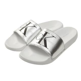 【Calvin Klein】Jeans LOGO 帆布休閒拖鞋-銀色  Calvin Klein