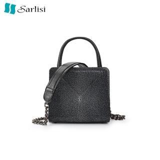 【Sarlisi】磨珠珍珠魚皮女包鏈條單肩包時尚手提包新款小方包斜背包  Sarlisi