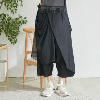 【*KatieQ 慢。生活】設計師網紗綁帶造型寬口褲-F(黑)  *KatieQ 慢。生活