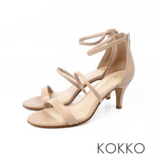 【KOKKO集團】凡爾賽玫瑰細帶羊皮高跟涼鞋(奶茶裸)好評推薦  KOKKO集團