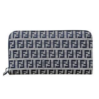 【FENDI 芬迪】經典緹花滿版LOGO帆布拉鏈長夾(展示品/單寧藍)  FENDI 芬迪