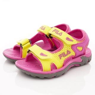 【FILA】運動休閒涼鞋(430T-292粉黃-17~24cm)好評推薦  FILA