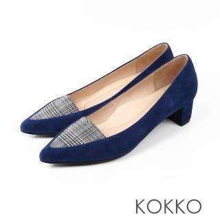 【KOKKO集團】法式優雅尖頭格紋粗跟鞋(英格藍)  KOKKO集團