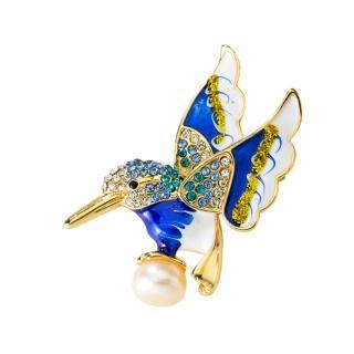 【RJ New York】森林女神蜂鳥造型珍珠胸針別針2用(彩色)  RJ New York
