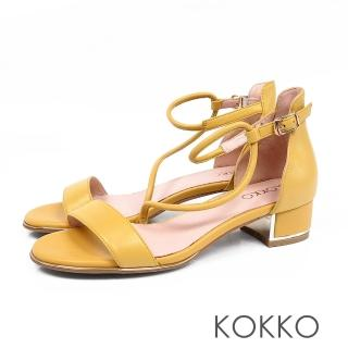 【KOKKO集團】東大門一字細帶真皮粗跟涼鞋(芒果黃)  KOKKO集團