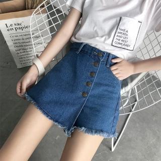 【WHATDAY】韓版不規則純色牛仔短褲L-4XL(共兩色)優惠推薦  WHATDAY