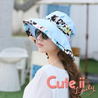 【Cute ii Lady】彩染花卉甜美色系和風渡假休閒遮陽帽(天藍)  Cute ii Lady