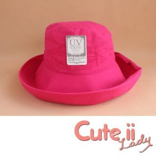 【Cute ii Lady】日本UV CUT防紫外線棉麻捲邊大帽檐漁夫遮陽帽(玫紅)優惠推薦  Cute ii Lady