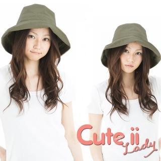 【Cute ii Lady】日本UV CUT防紫外線棉麻捲邊大帽檐漁夫遮陽帽(軍綠)  Cute ii Lady