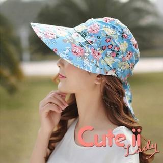 【Cute ii Lady】柔美花漾可捲摺休閒兩用防曬遮陽帽(玫瑰藍)好評推薦  Cute ii Lady