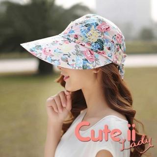 【Cute ii Lady】柔美花漾可捲摺休閒兩用防曬遮陽帽(玫瑰粉)優惠推薦  Cute ii Lady