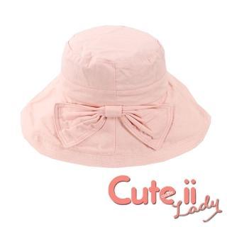 【Cute ii Lady】日版大帽檐棉麻捲邊蝴蝶結飾漁夫遮陽帽(粉)  Cute ii Lady