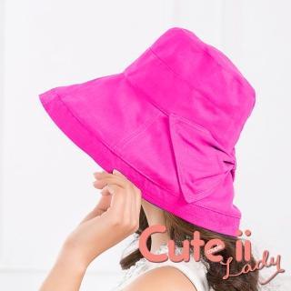 【Cute ii Lady】日版大帽檐棉麻捲邊蝴蝶結飾漁夫遮陽帽(玫紅)品牌優惠  Cute ii Lady