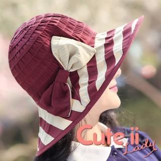 【Cute ii Lady】海軍條紋撞色蝴蝶結可摺疊防曬遮陽外出帽(酒紅)評價推薦  Cute ii Lady