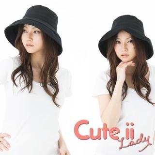 【Cute ii Lady】日本UV CUT防紫外線棉麻捲邊大帽檐漁夫遮陽帽(黑)好評推薦  Cute ii Lady