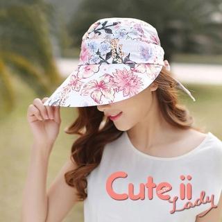 【Cute ii Lady】柔美花漾可捲摺休閒兩用防曬遮陽帽(百合粉)評價推薦  Cute ii Lady