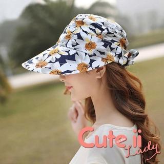 【Cute ii Lady】柔美花漾可捲摺休閒兩用防曬遮陽帽(菊花藏青)  Cute ii Lady
