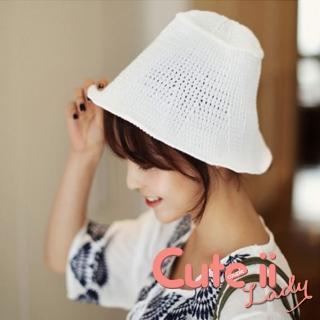 【Cute ii Lady】小清新捲邊網眼針織盆帽 毛線帽 遮陽帽(白)品牌優惠  Cute ii Lady