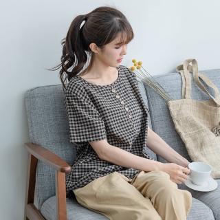 【*KatieQ 慢。生活】木釦造型色織格上衣-F(粉紅格/黑格)折扣推薦  *KatieQ 慢。生活