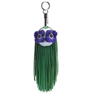 【FENDI 芬迪】經典花朵眼睛皮革流蘇造型鑰匙圈/吊飾(綠色7AR596-6GV-F04Y5)優惠推薦  FENDI 芬迪