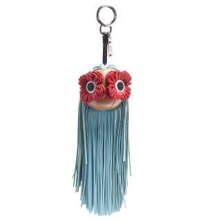 【FENDI 芬迪】經典花朵眼睛皮革流蘇造型鑰匙圈/吊飾(藍色7AR596-6GV-F04Y7) 推薦  FENDI 芬迪