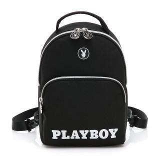 【PLAYBOY】後背包可手提/斜背 黑白風尚系列(黑色) 推薦  PLAYBOY