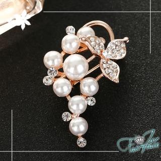 【伊飾童話】珍珠葡萄*浪漫水鑽別針胸針/金  伊飾童話