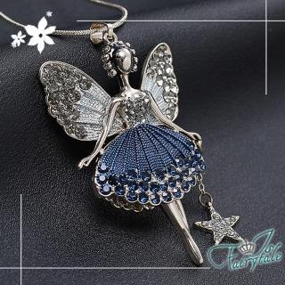 【伊飾童話】蝴蝶仙子*藍鑽花裙灰銀長鍊品牌優惠  伊飾童話