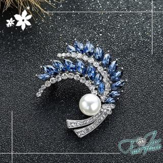 【伊飾童話】幻想之羽*珍珠水晶別針胸針/銀白藍  伊飾童話