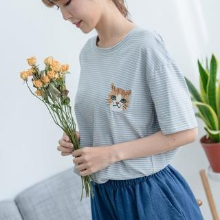 【*KatieQ 慢。生活】貓咪刺繡條紋短袖T-F(藍/紅)優惠推薦  *KatieQ 慢。生活