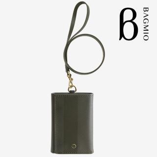 【BAGMIO】三摺式牛皮鈔票卡片夾(橄欖綠附皮帶)  BAGMIO