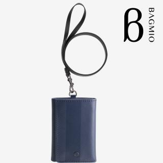【BAGMIO】三摺式牛皮鈔票卡片夾(午夜藍附皮帶)  BAGMIO