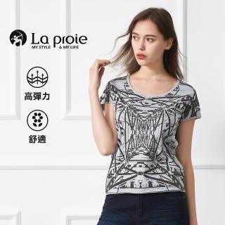 【La proie 萊博瑞】女式休閒棉柔設計師印花T恤(三色-旅行圓領彈力設計T)  La proie 萊博瑞