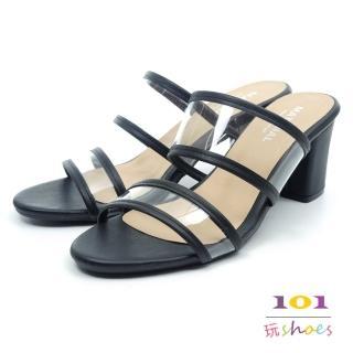 【101玩Shoes】mit. 透明雙帶粗跟時尚美型拖鞋(黑色.36-40碼) 推薦  101玩Shoes