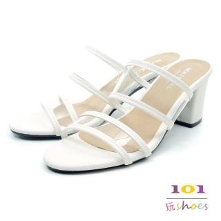 【101玩Shoes】mit. 透明雙帶粗跟時尚美型拖鞋(白色.36-40碼)好評推薦  101玩Shoes