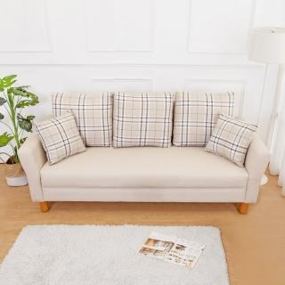 【Bernice】米洛克貓抓皮沙發三人椅/三人座(送抱枕-二色可選)  Bernice