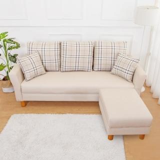 【Bernice】米洛克貓抓皮L型沙發椅組合(3人+椅凳-送抱枕-二色可選)折扣推薦  Bernice