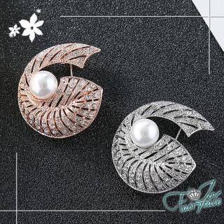 【伊飾童話】海螺之眼*珍珠晶鑽別針胸針/2色可選 推薦  伊飾童話