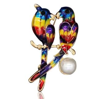【RJ New York】情人雙飛鳥彩釉珍珠別針胸針兩用(彩色)  RJ New York