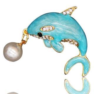 【RJ New York】湛藍海豚漸層身影珍珠別針胸針兩用(2色可選)  RJ New York