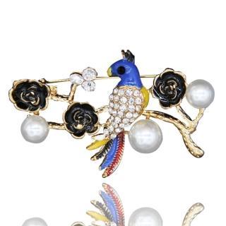 【RJ New York】幸福青鳥彩釉水鑽珍珠別針胸針兩用(藍色)  RJ New York