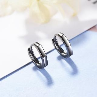 【梨花HaNA】韓國925銀針暗夜簡約風格六角形黑色亮面環繞耳環  梨花HaNA