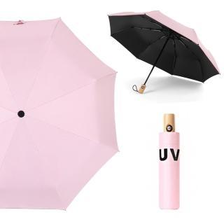【幸福揚邑】降溫抗UV防風防撥水大傘面全自動開收木柄晴雨摺疊傘(粉) 推薦  幸福揚邑