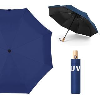 【幸福揚邑】降溫抗UV防風防撥水大傘面全自動開收木柄晴雨摺疊傘(深藍) 推薦  幸福揚邑