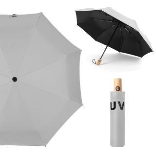 【幸福揚邑】降溫抗UV防風防撥水大傘面全自動開收木柄晴雨摺疊傘(灰)  幸福揚邑