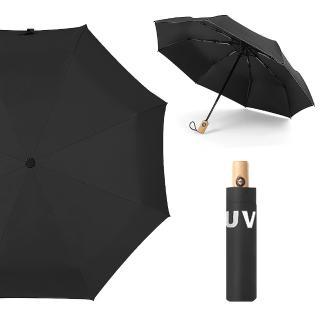 【幸福揚邑】降溫抗UV防風防撥水大傘面全自動開收木柄晴雨摺疊傘(黑)折扣推薦  幸福揚邑