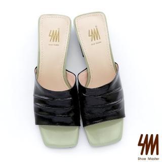 【SM】歐美時尚簡約撞色方頭中低粗跟拖鞋(撞色方頭中低粗跟拖鞋)  SM