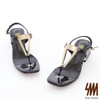 【SM】幾何圖形金屬飾釦真皮方頭中粗跟涼鞋(幾何圖形金屬飾釦真皮方頭中粗跟涼鞋) 推薦  SM