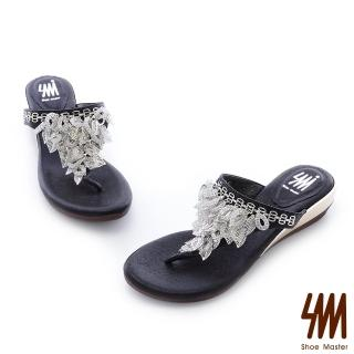 【SM】金色葉女神夾腳中低楔型拖鞋(夾腳中低楔型拖鞋)優惠推薦  SM